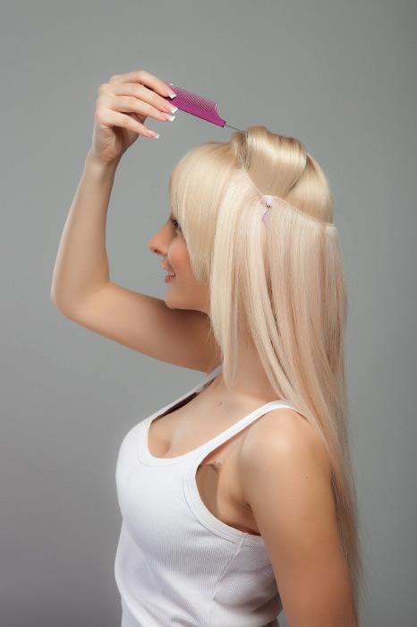 Накладные волосы на леске как крепить на короткие волосы фото
